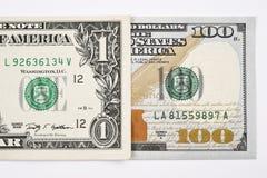 Makroschuß eines neuen 100 Dollarscheins und eines Dollars vektor abbildung