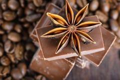 Makroschuß zum Anis, zur Schokolade und zu den Kaffeebohnen Stockfotografie