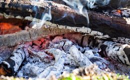 Makroschu? der brennenden Kohle Gl?hende Glut, die im Kamin schwelt stockfotografie