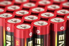 Makrosikt av motorförbundetbatterier Royaltyfri Bild