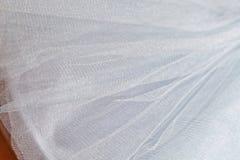 Makrosikt av sömnadklänningar Slut upp av tygingreppet för ballerinakjol Kjol för dans för barn` s Netto brölloptextil fotografering för bildbyråer