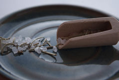 Makroskott av ett rosmarin smaksatt salt i en trätesked på en blå platta Arkivfoto