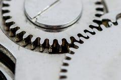 Makroskott av kugghjul i ett gammalt armbandsur Arkivfoton