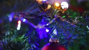 Makroskott av prydnader för julträd stock video