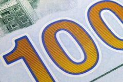 Makroskottbild av hörnet av 100 sedlar för en dollarräkning finansiell framgång för begrepp Bakgrund av 100 dollarräkningar H ett royaltyfria bilder