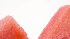 Makroskytte av övredelen av mogna vattenmelonskivor Tvärsnitt Långsamt rotera på skivtallriken som isoleras på stock video
