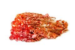 Makroskytte av den naturliga gemstonen Rå mineralisk vanadinite, Marocko Isolerat objekt på en vit bakgrund Royaltyfria Foton