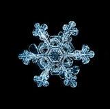 Makrostück der natürlichen Kristallschneeflocke Eis Stockbild