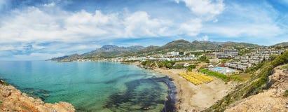 Makrygialos Coastline Panorama Royalty Free Stock Photos