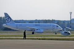 MAKS国际航空航天沙龙 100 sukhoi superjet 免版税库存照片