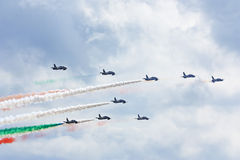 MAKS 2009. Frecce Tricolori italian group Royalty Free Stock Images