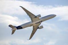 MAKS International Aerospace Salon. Airbus A350 in flight. Royalty Free Stock Photos
