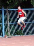 Maksimchuk Ivan konfiguriert, am Rennen teilzunehmen Stockbild