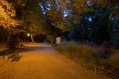 Maksimir park at night. Zagreb's most famous park Stock Photos