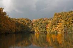 Maksimirs lake. Autumn in park Maksimir in Croatia Zagreb Stock Photos