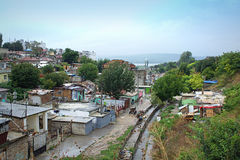 Maksuda slum view,Varna Bulgaria. Illegal huts, shacks and rubbish in the ghetto Maksuda,Varna,Bulgaria.A campaign of a partial demolition was held on August Stock Image
