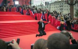 Maksyma Averin na czerwonym chodniku przed otwarciem 37 Moskwa Międzynarodowy ekranowy festiwal Zdjęcia Stock