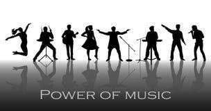 Makt av musikbegreppet Uppsättning av svarta konturer av musiker, sångare och dansare Royaltyfria Bilder