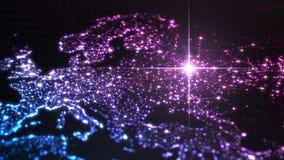 Makt av Ryssland, energistråle på moscow mörk översikt med upplysta städer och mänskliga täthetområden illustration 3d royaltyfri illustrationer