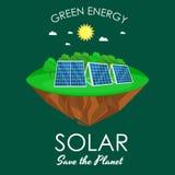 Makt för alternativ energi, sol- elektricitetspanelfält på ett ekologibegrepp för grönt gräs, teknologi av den förnybara solen