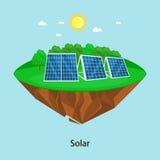 Makt för alternativ energi, sol- elektricitetspanelfält på ett ekologibegrepp för grönt gräs, teknologi av den förnybara solen Arkivfoton