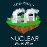 Maktbransch för alternativ energi, kärnkraftverkfabrikselektricitet på ett ekologibegrepp för grönt gräs Royaltyfri Foto
