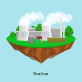 Maktbransch för alternativ energi, kärnkraftverkfabrikselektricitet på ett ekologibegrepp för grönt gräs stock illustrationer