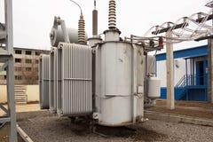 Makttransformator 110 av kV Arkivfoton