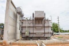 Makttransformator i understationen 115 kv/22 kv Arkivfoton