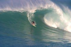 Makua Rothman que practica surf en la bahía de Waimea Imagenes de archivo