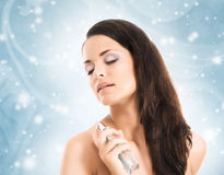 Makup portrait of a woman on a snowy background Royalty Free Stock Photo