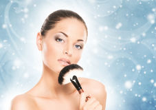 Makup portrait of a woman on a snowy background Royalty Free Stock Photography