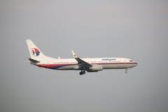 Malásia, 2016 - avião de passageiros comercial na taxação para aterrar em Kuala Lumpur International Airport Imagens de Stock