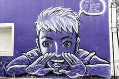 Malásia - 19 de julho: arte da rua em Penang, Malásia o 19 de julho, Imagem de Stock Royalty Free