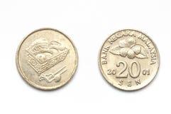 Malásia moeda de vinte centavos Fotografia de Stock Royalty Free