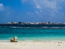 Malé, Maldives. View of Malé from the neighbor island Villingili, Maldives royalty free stock photo