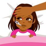 Mal da menina na cama ilustração do vetor