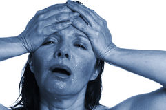 Mal de tête bleu Photographie stock libre de droits