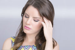 Mal de tête de femme Photos stock
