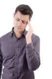 Mal de tête Homme et migraine Photos stock