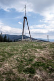 Mala Czantoria hill above Ustron resort in spring Silesian Beskids mountains in Poland Stock Photos