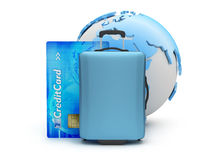 Mala de viagem, cartão de crédito e globo da terra Foto de Stock Royalty Free