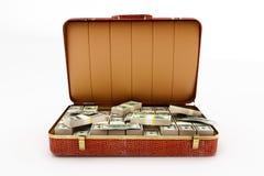 Mala de viagem com dinheiro Foto de Stock