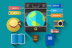 Mala de viagem com o globo para o conceito do curso Imagem de Stock