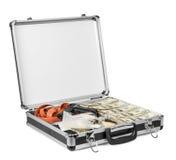 Mala de viagem com os dólares, as drogas e os braços isolados no fundo branco Fotografia de Stock Royalty Free