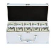 Mala de viagem completamente do dinheiro americano Imagens de Stock