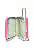 Mala de viagem cor-de-rosa aberta Fotografia de Stock