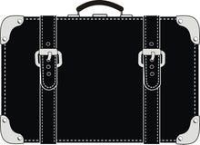 Mala de viagem de couro preta com cintas Fotos de Stock Royalty Free