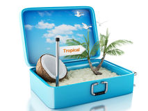 mala de viagem do curso da praia do paraíso 3d Fundo branco Imagem de Stock Royalty Free