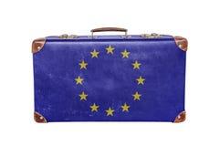 Mala de viagem do vintage com a bandeira da União Europeia Imagens de Stock Royalty Free